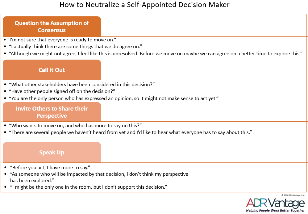 How to Neutralize a Self-Appointed Decision Maker
